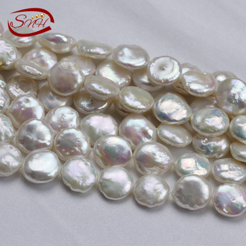 SNH 5 strands/package 12mm AA coin nice luster pearl strings