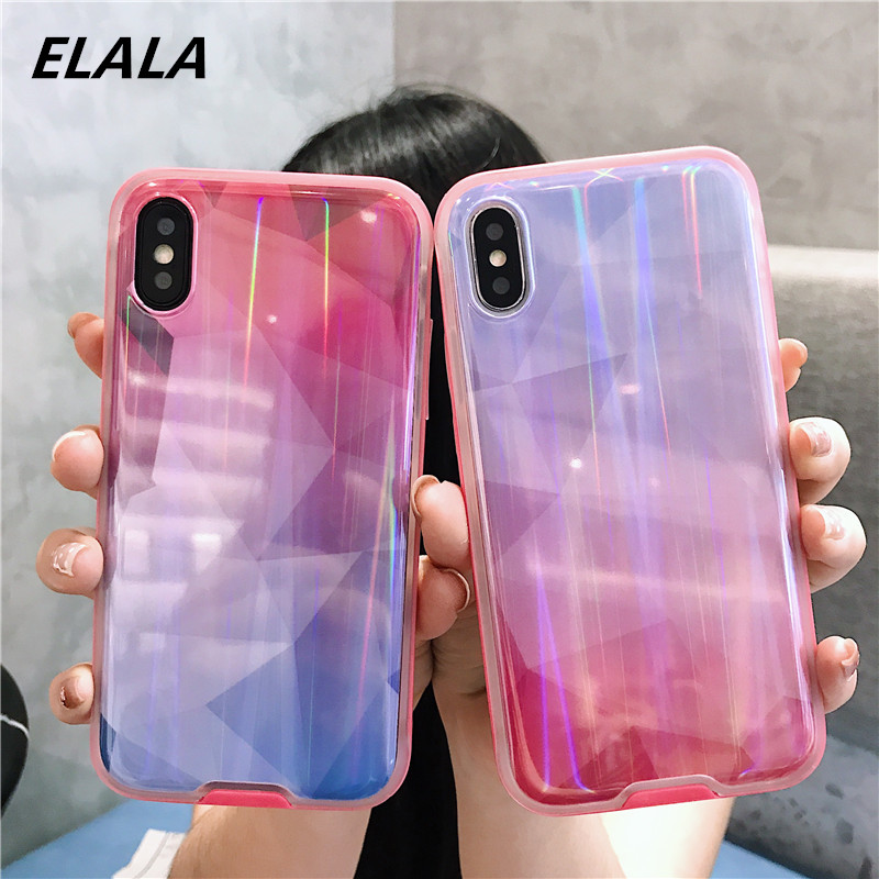 59912da5e9740 US $2.18 27% OFF|ELALA 3D Glossy Case For iPhone X Xs Max XR 6 7 8 Plus  Colorful Prism Holographic Laser Glitter Diamond Soft Cover For iPhone  6s-in ...