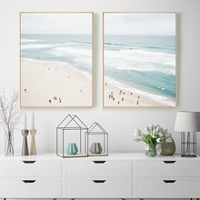 Aerial Beach Poster Ocean Print Seascape Canvas Painting Large Wall Art Wall Pictures for Living Room Coastal Decor Unframed(China)