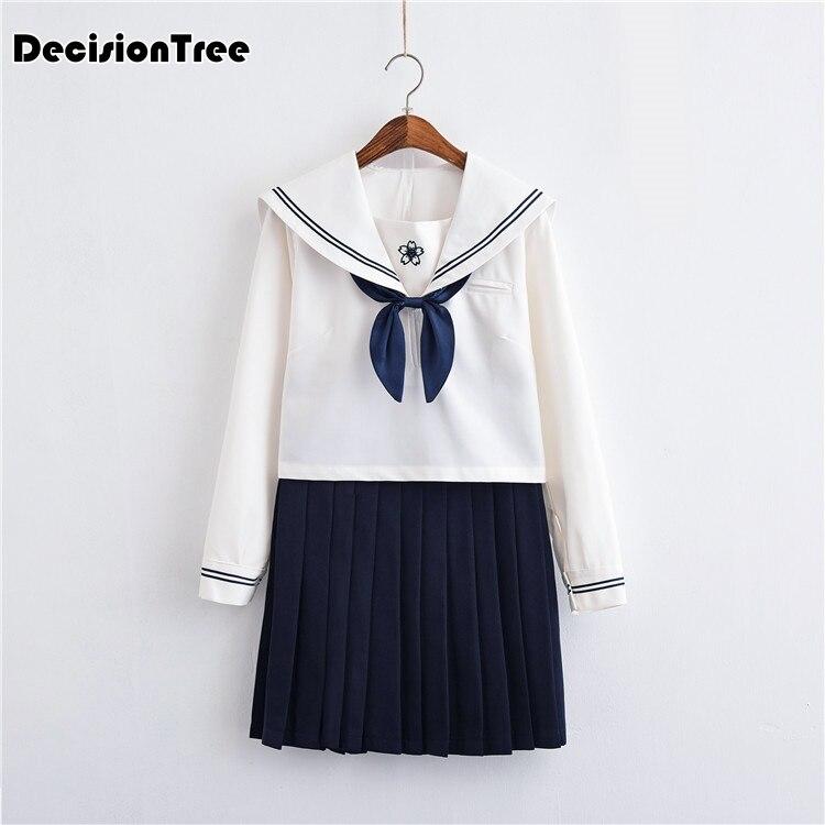 2019 été japonais uniformes scolaires marin hauts + arc + jupe marine style étudiants vêtements pour fille lala cheerleader vêtements plus