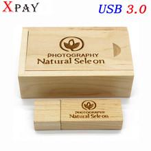 XPAY USB3.0+box (10 PCS  free LOGO) Wood  maple usb flash drive pendrive 4GB 8GB 16GB 32GB 64GB memory stick customer LOGO
