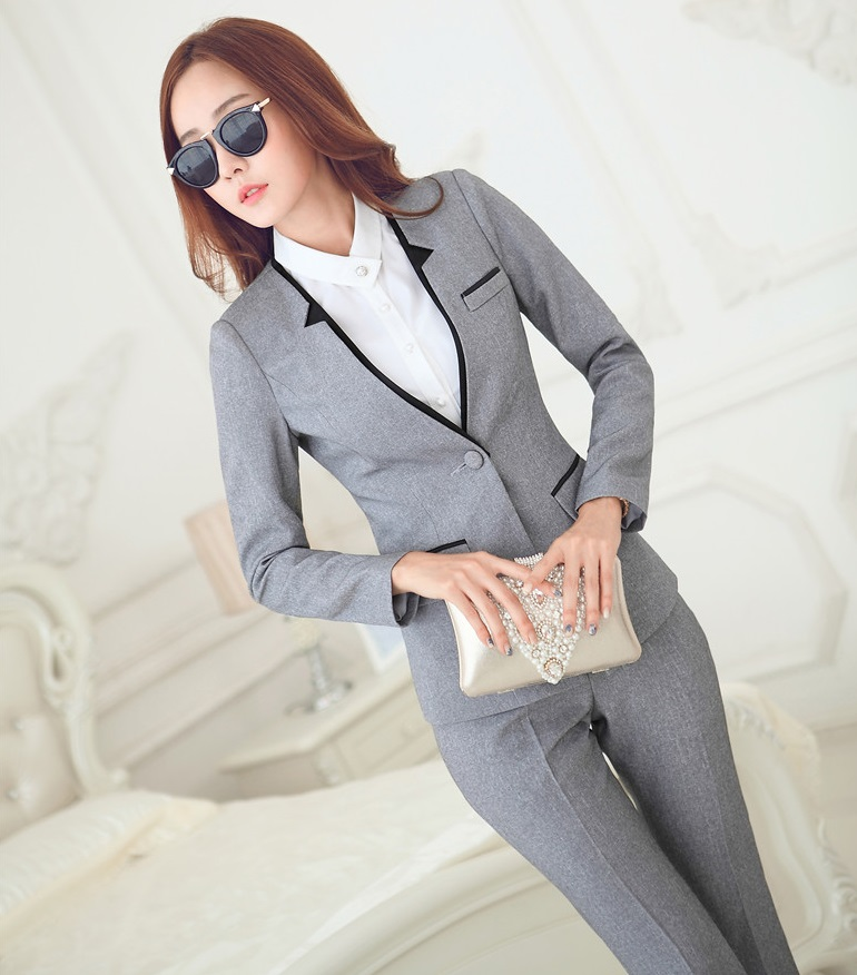 e2f66919d83 New Novelty Grey Professional Business Women Suits Jackets And Pants  Uniform Styles Female Pants Trousers Set Plus Size 4XL-in Pant Suits from  Women s ...