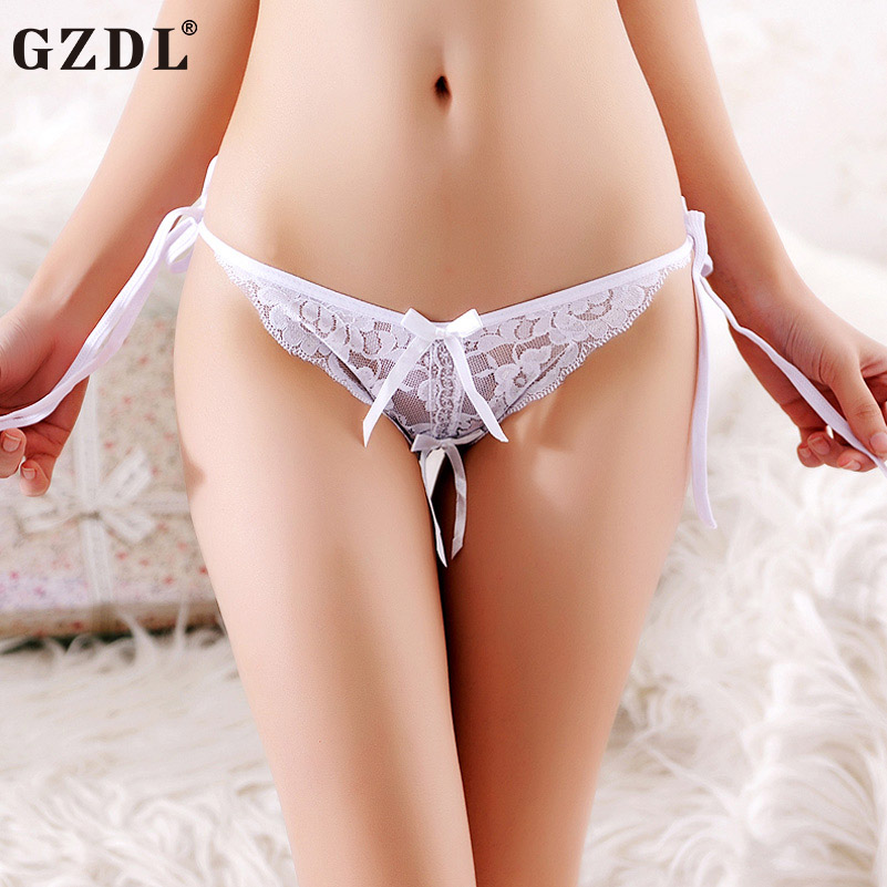 GZDL Sexy Lace Lady Panties Bow String Adjustable Open Crotch Ruffles Transparent Fashion Lot Lacy Women Underwear Briefs NY294