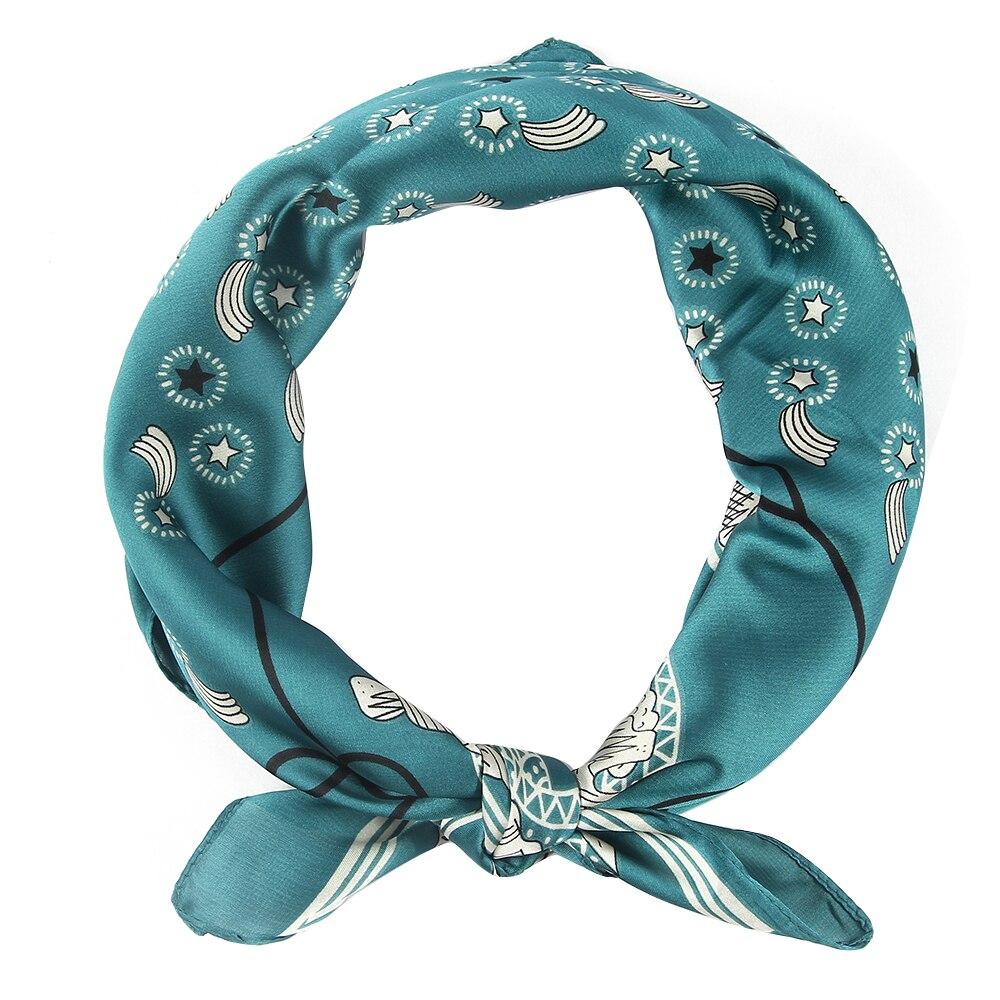 Winfox Red Blue Star Print Bandana Square Scarfs Female Headwear Handkerchief Scarves Women in Women 39 s Scarves from Apparel Accessories