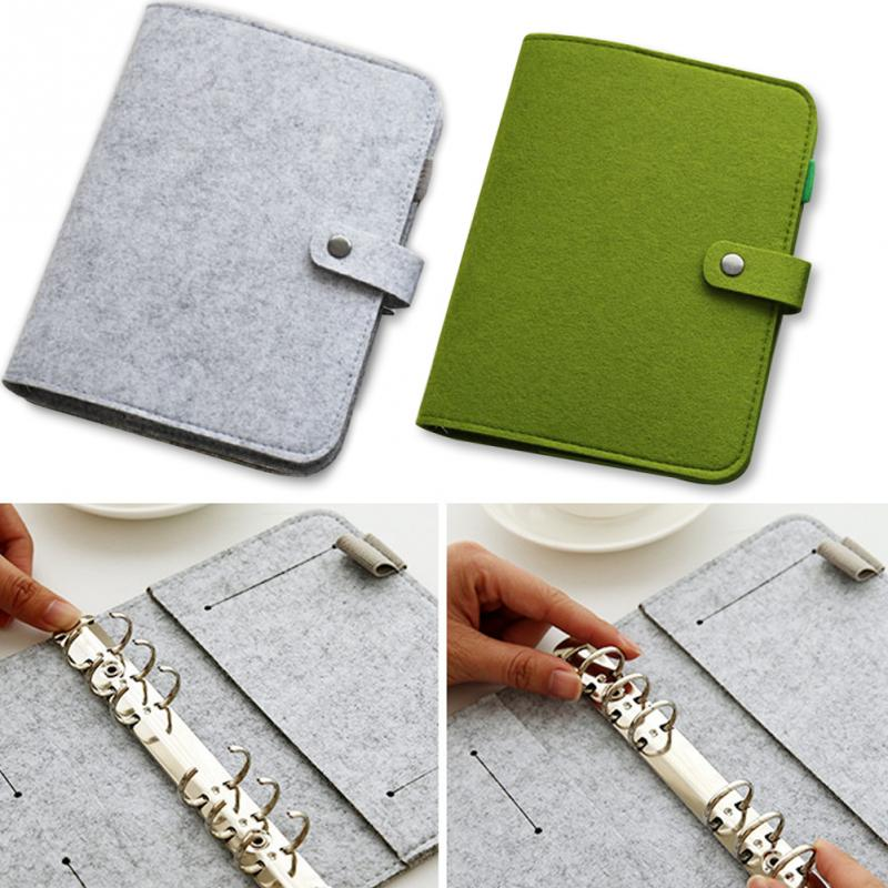 A5 A6 Spiral Journal Notebook Cover Felt 6 Holes Vintage Dokibook Diary DIY Planner Organizer School Office Supply