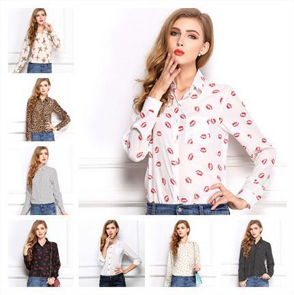 """2015 White Black Long Sleeve Women's Blouses&Shirts Kiss Red Lip Print Casual Tops Loose Plus Size Lady Button Leopard Blusas - Tight""""s Queen store"""