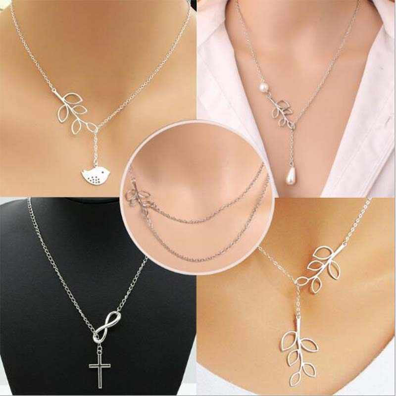 QMXD Hot new New 2019 Lovely Chic Infinity Cross Long Silver Chain Pendant Fashion Necklaces For Women Jewelry Gift