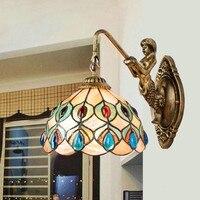Concha tiffany vintage vitral ferro sereia lâmpada de parede iluminação interior lâmpadas cabeceira luzes parede para casa ac 110 v/220 v e27|wall lights for home|wall light|lights for home -