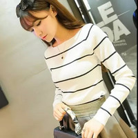 Hot Sale Women S Knitted Cashmere Sweater Plus Size Stripe Wlack White Woman Winter Clothes Pullover