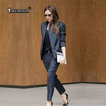 Custom Dark Gray Womens Business Suits Female Office Uniform Ladies Trouser Suits Formal Womens Tuxedo 2 Piece Set Blazer(China)