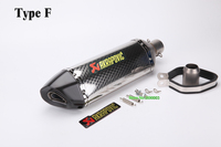 Inlet 51mm Length 470mm Motorcycle Akrapovic Exhaust Muffler Pipe With DB Killer Motorbike Muffler Exhaust Escape