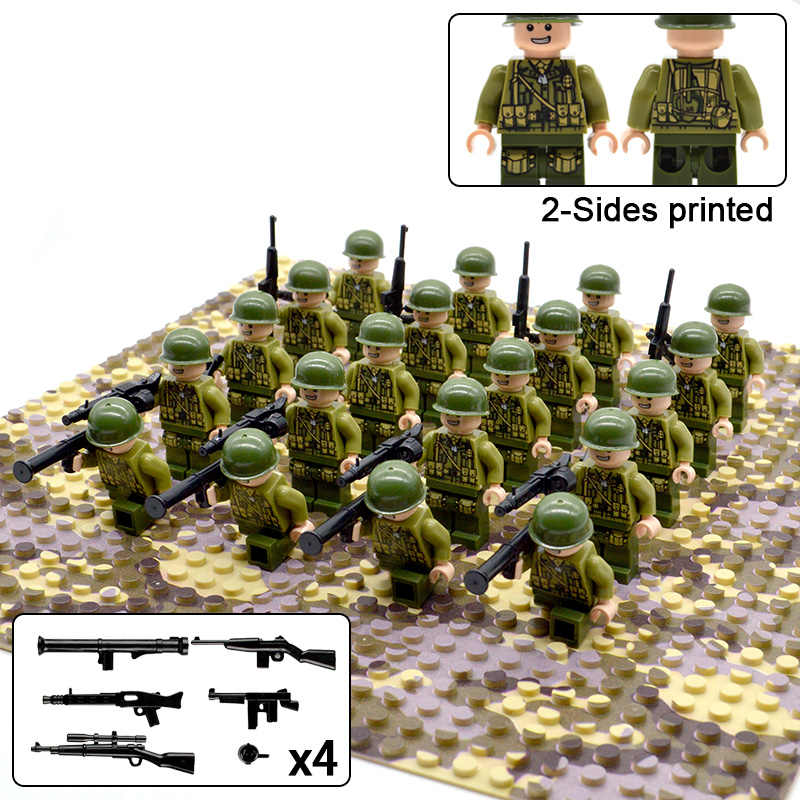 20PCs/Lot WW2 Allied Troops Soldier Army Military Figures Weapons Building blocks Bricks Toys for Boys