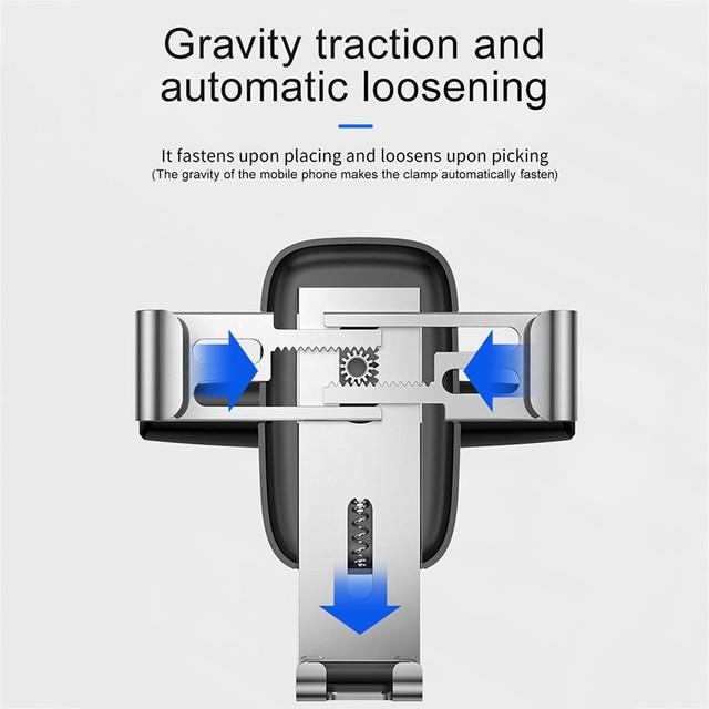 Baseus Car Phone Holder for Car Air Vent / CD Slot Mount Phone Holder Stand for iPhone Samsung Metal Gravity Mobile Phone Holder 5
