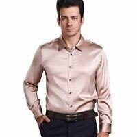Для мужчин блестящей шелковистой атласное платье рубашка Homme Роскошный шелк бренд с длинными рукавами высокое качество Эластичность мягко
