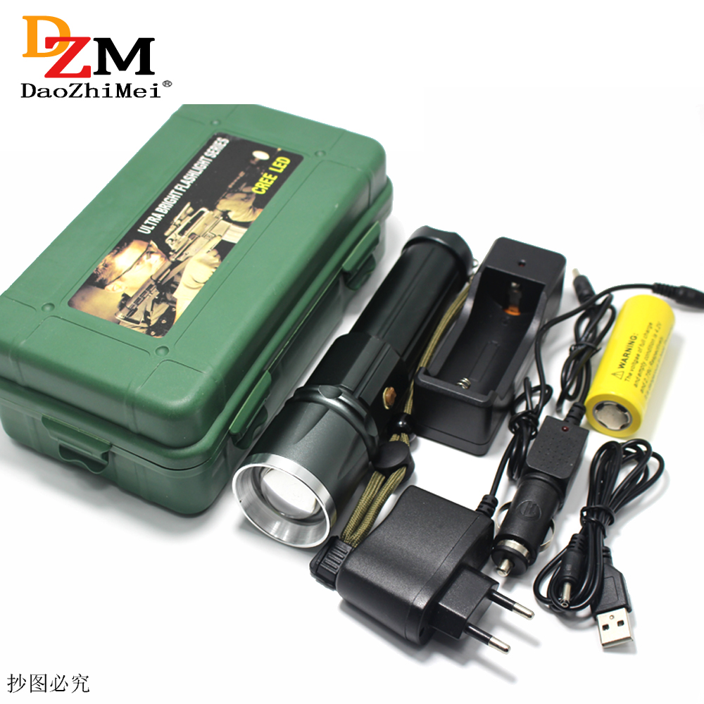 3800 lumens CREE XML T6 LED Zoom flashlight Torches Zoomable Flashlight camping led torch +26650 battery Car Charger+USB flashlight led cree xm l2 light 3800 lumens 26650 battery outdoor camping telescopic zoom self defense powerful led flashlight