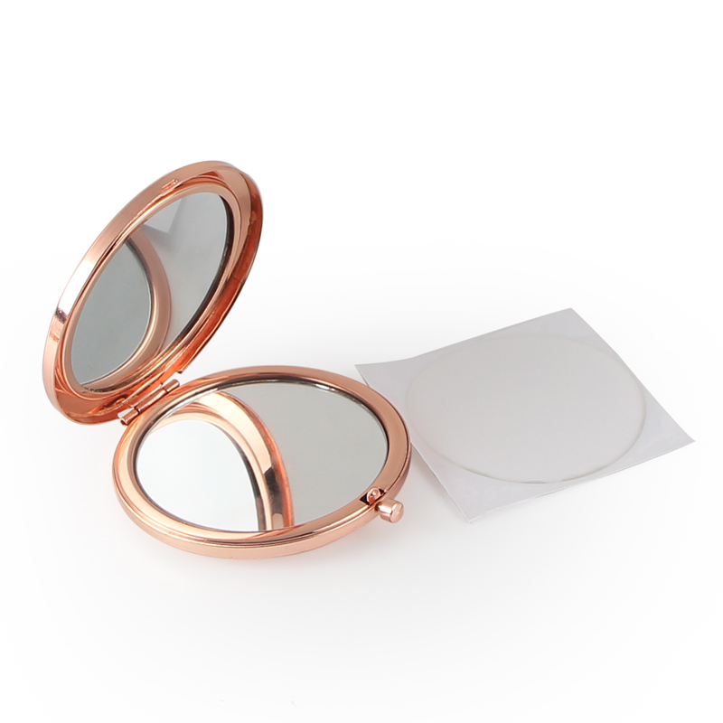 Round Mirror Compact Blank Plain rose gold Colour For DIY gift mirror (5)