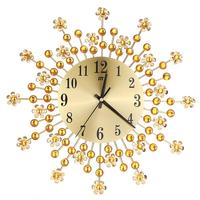 Blooming Modern Diamante Metal Wall Clock Timelike Wall Decal for Home Decoration (Golden)
