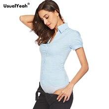 UsualYeah Чисто женские формальные рубашки с коротким рукавом боди рубашка с v-образным вырезом Плиссированные рубашки и блузки белый синий s-xxl