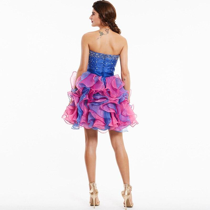 Tanpell straplez kokteyl elbise kraliyet mavi kolsuz boncuklu ilmek - Özel Günler Için Elbise - Fotoğraf 3