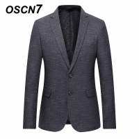 OSCN7 Grey Stripe Casual Blazer Men 2018 Spring Formal Business Suit Jacket Men Plus Size Fashion 7xl 6xl 5xl 4xl Blazer Men