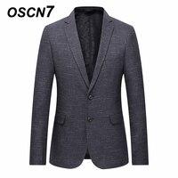 OSCN7 Grey Stripe Casual Blazer Men 2018 Spring Formal Business Suit Jacket Men Plus Size Fashion 7xl 6xl 5xl 4xl Blazer Men