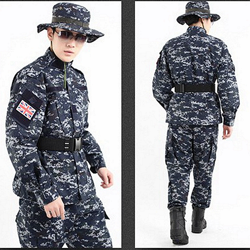 New US Camouflage Uniform navy military uniform Navy Digital Blue ACU Style Uniform Set Digital Navy