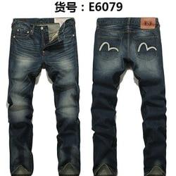 Authentieke Evisu mannen Ademend Hoge Kwaliteit Mode Broek Warme Mannen Solid Jeans Straight Print Mid Taille Rits mannen broek