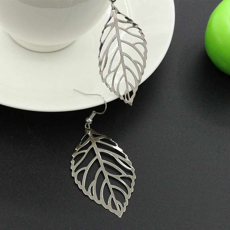 2019 Korean Statement Dangle Drop Earrings Silver Gold Hollow Leaf Earrings for Women Fashion Jewelry Brinco Oorbellen Wholesale