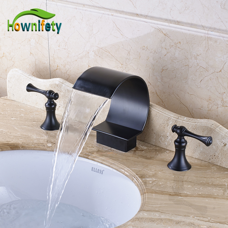 Solid Brass Widespread 3pcs Waterfall Spout Bathroom Sink Faucet Double Handles Mixer Tap Oil Rubbed Bronze стоимость