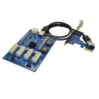 PCI E X1 TO 4PCI E X16 Expansion Kit 1 to 4 Port PCI Express Switch Multiplier HUB 6pin sata USB Riser Card for BTC Miner Mining