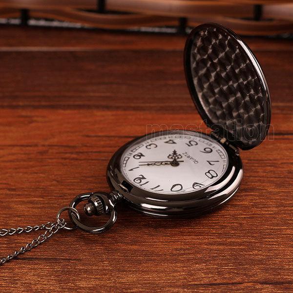 Black Round Smooth Steampunk Pocket Watch