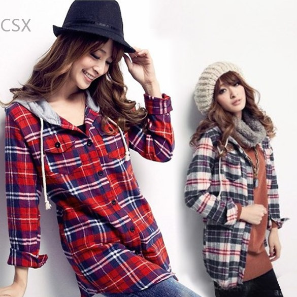 New Korean Hot Women's Ladies Long Sleeve Flax Casual Hoodies Plaid Hooded Shirt Blouse outwear