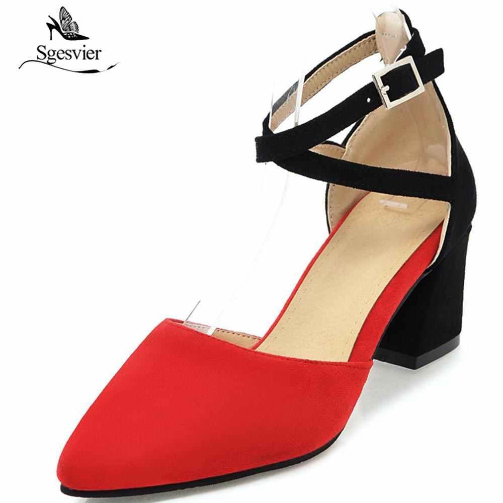 SGESVIER 2018 wiosna marka kobiety buty pompy gruby obcas szpiczasty nosek buty damskie kostki pasek z klamrą czarny czerwony różowy żółty OX247