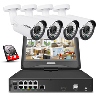 Techege 8CH 1080P 48V POE NVR Kit With 10 1 LCD Monitor 2MP 3000TVL PoE IP