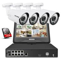 Techege 8CH 1080P 48V POE NVR Kit With 10 1 LCD Monitor 2MP 3000TVL PoE IP