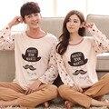Os amantes de Presente os amantes da Primavera outono seda leite de manga longa casal Pijamas conjuntos de pano dos desenhos animados home wear para homens e mulheres de pano terno