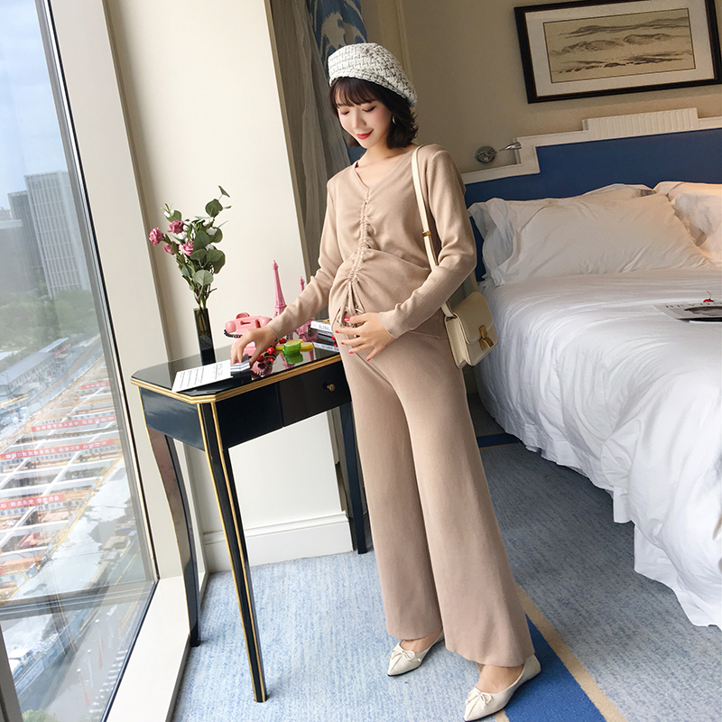 Maternity wear autumn 2018 new maternity suit pregnant women V-neck drawstring shirt loose wide leg pants two-piece все цены