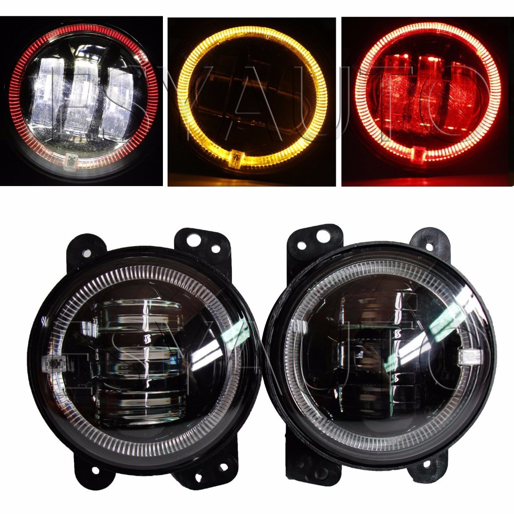One Pair 4 inch 30w 12V 24V led fog red/yellow angel eye and white DRL light flood beam for jeep