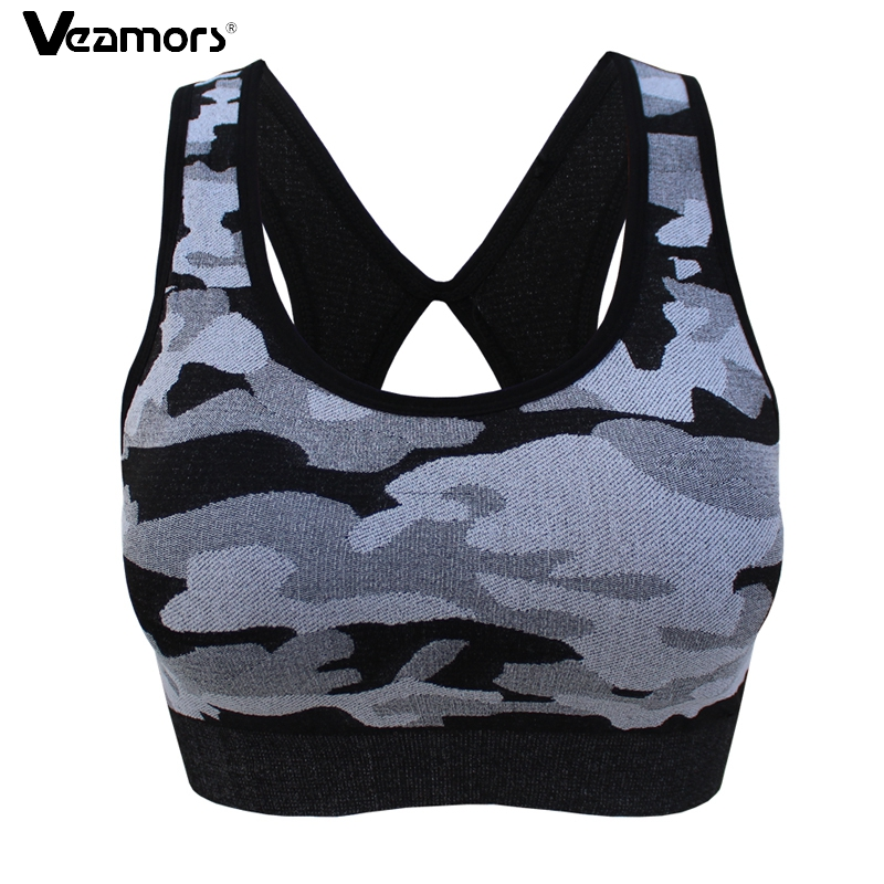 VEAMORS Women Camouflage Yoga Sport Bra Wirefree Shockproof Gym Running Bra Cropped Tops Seamless Padded Fitness Underwear Vest cropped wide sleeve top