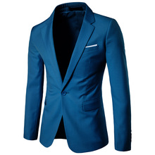 2019 Mens Korea Slim Fashion Blazers Suit Jacket Male Casual Plus size Coat Wedding dress Black Sea blue Wine Red coat men