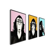 Animal Painting Music Monkey Canvas 3piece Painting Wall Art For Living Room Home Decor Framed Painting