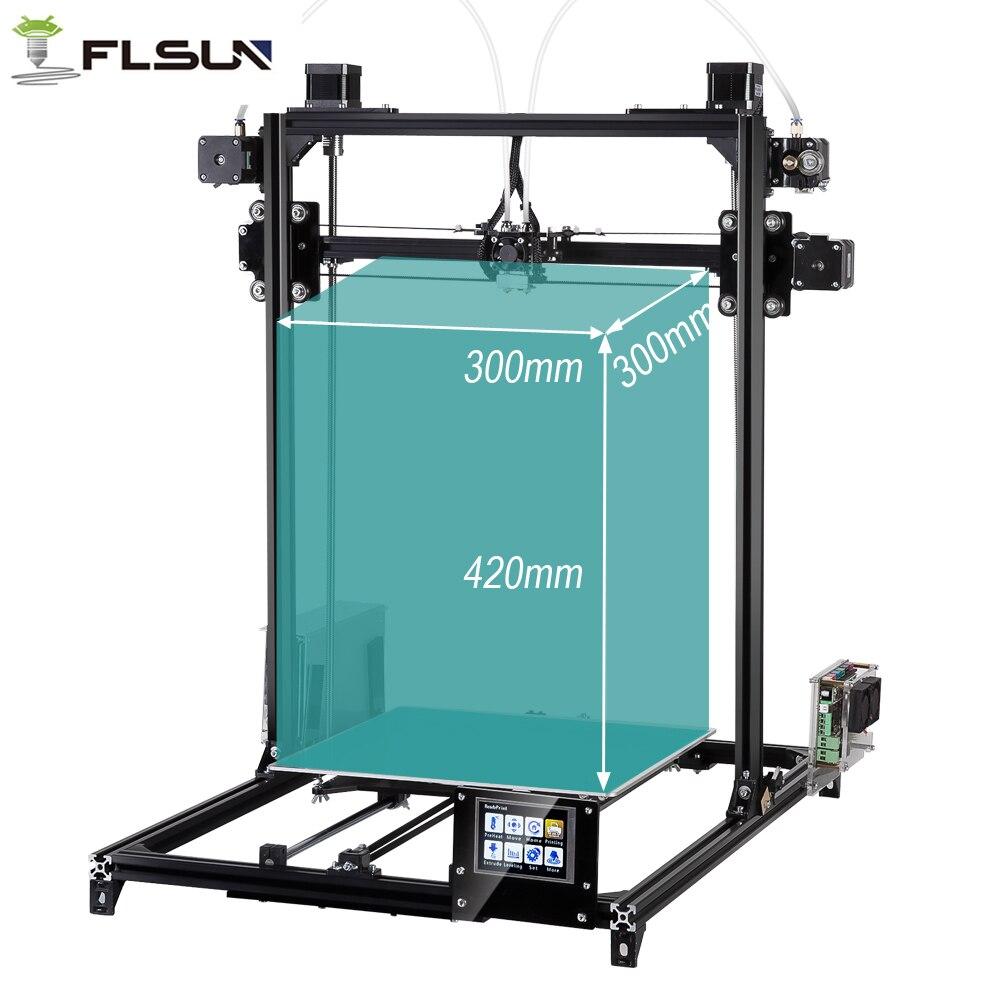 Flsun 3D Imprimante kit Grande Zone D'impression 300*300*420mm Niveau Automatique Double Extrudeuse écran Tactile 2 rouleaux filament Cadeau