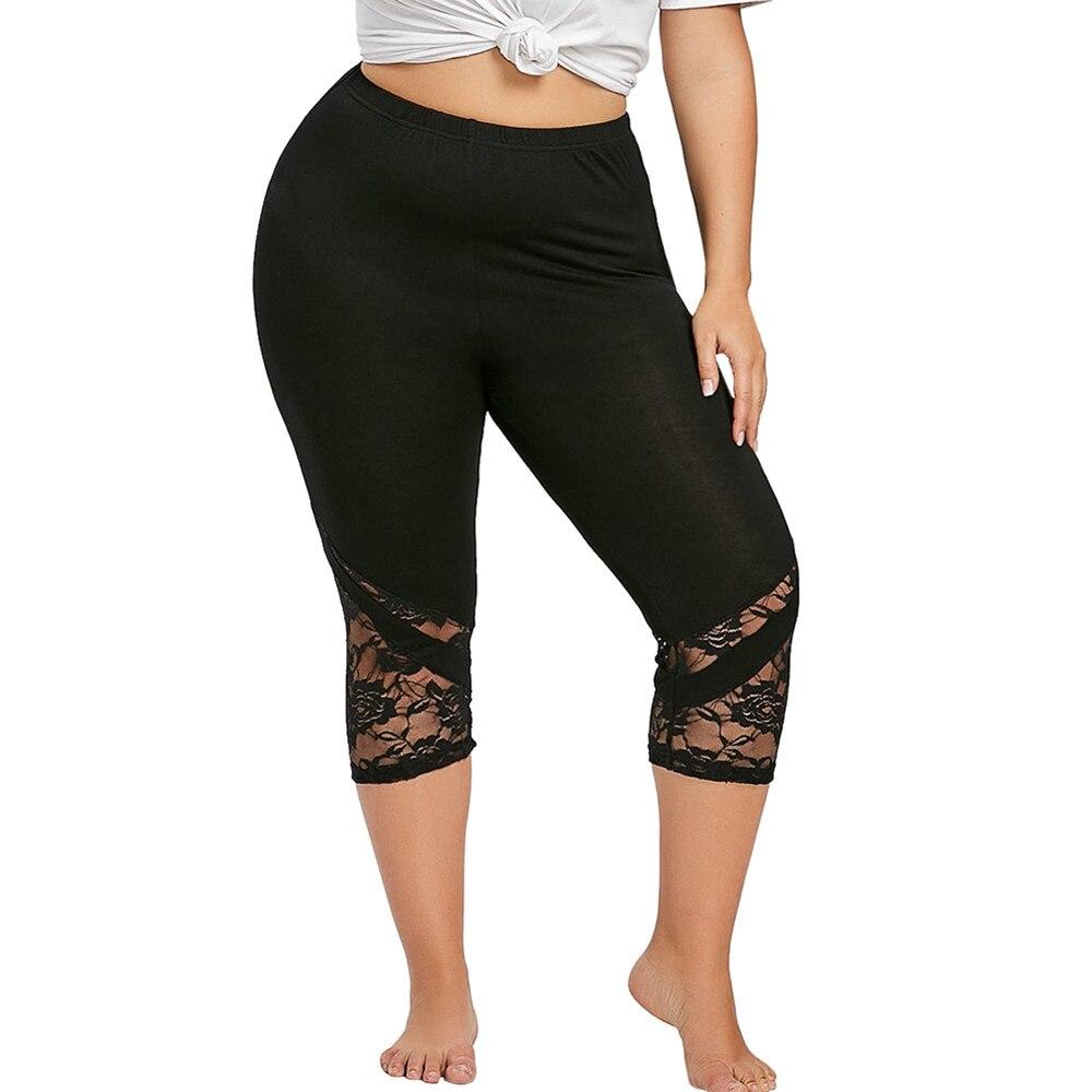 Plus Size Womens Mid Waist Lace Hot Shorts Elastic Sports Pants Tight Leggings