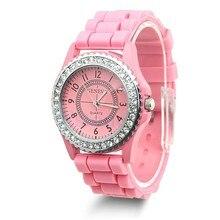 В наличии 14 цветов Мода Силиконовые Женева часы Лидер продаж женское платье часы со стразами часы