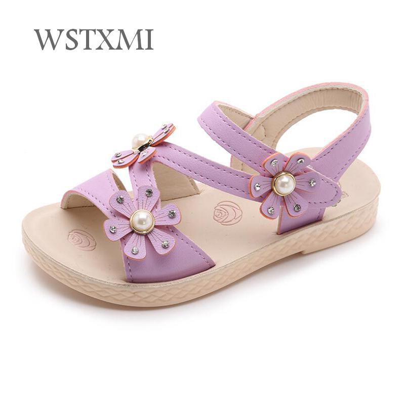 Sandals For Girls 2019 Summer Kids Flowers Sandals Baby Soft Leather Purple Girls Princess Shoes Children Student Beach Sandals