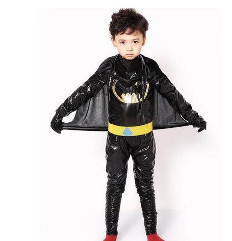 Halloween Batman Costume Super Hero Costume 110-140cm Kid Child Children Carinval Boy Birthday Party Gift Jumpsuit+cloak+belt