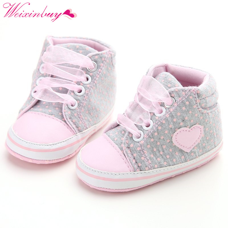 2018 Baby Shoes Classic Canvas Baby Girl Shoes Mesh Heart-shaped Baby Girl Shoes First Walkers US Shipping