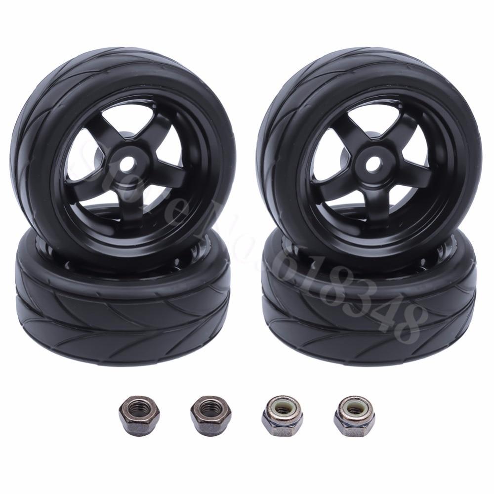 Nye 4stk gummi dæk og hjulfælge Diameter: 63mm Bredde 26mm Dirve - Fjernstyret legetøj