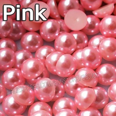 Pink Half Round Bead Mix Tamaños 2mm 3mm 4mm 5mm 6mm 8mm 10 12mm ABS de imitación plana posterior Perlas para DIY Nail Art accesorio de la joyería