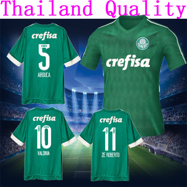 0f98bc213f Palmeiras jersey de futbol 15 16 Home Green Away gris AROUCA CRISTALDO  VALDIVIA 2016 gris verde camisas camisa del uniforme